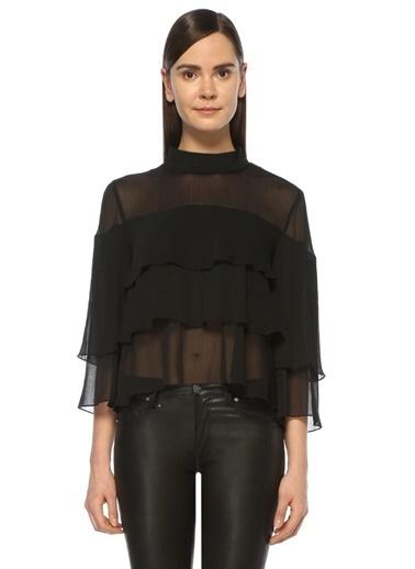 Volanlı Katlı Şifon Bluz-Just Female